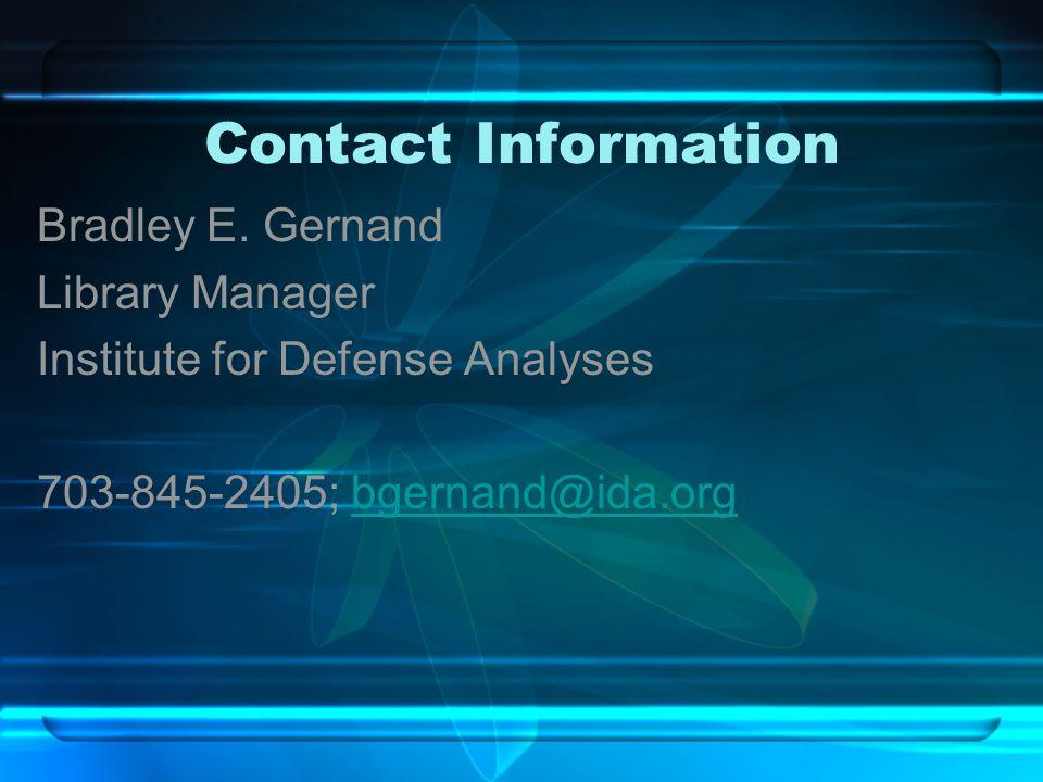 Contact Information Bradley E.
