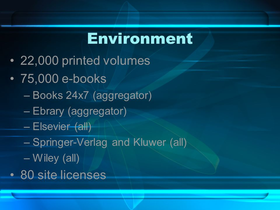 Environment 22,000 printed volumes 75,000 e-books –Books 24x7 (aggregator) –Ebrary (aggregator) –Elsevier (all) –Springer-Verlag and Kluwer (all) –Wiley (all) 80 site licenses