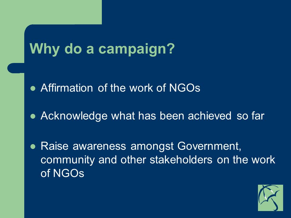Why do a campaign? Affirmation of the work of NGOs Acknowledge what has been achieved so far Raise awareness amongst Government, community and other s