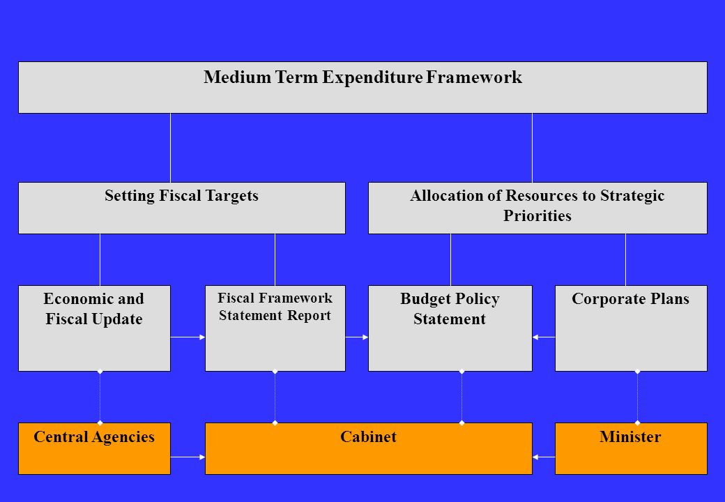 Central AgenciesCabinetMinister Medium Term Expenditure Framework Setting Fiscal TargetsAllocation of Resources to Strategic Priorities Economic and F