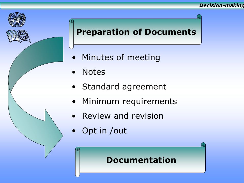 Preparation of Documents Minutes of meeting Notes Standard agreement Minimum requirements Review and revision Opt in /out Documentation Decision-making