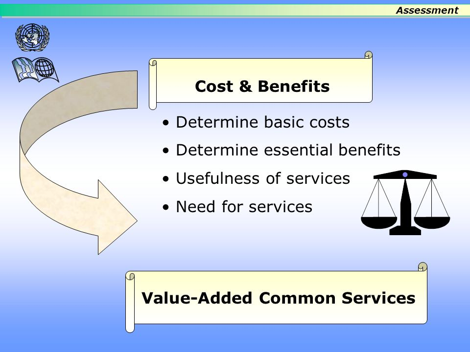 List needs and priorities What works/does not work Scope of Common Services Operational Needs and Priorities Assessment