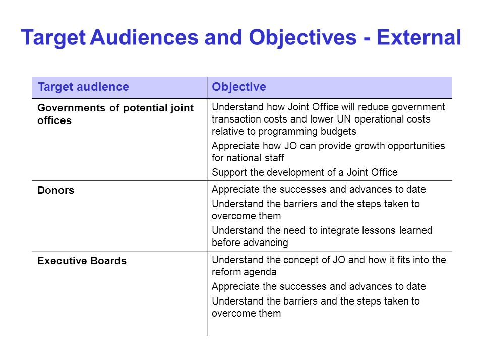 Target audienceObjective Governments of potential joint offices Understand how Joint Office will reduce government transaction costs and lower UN oper