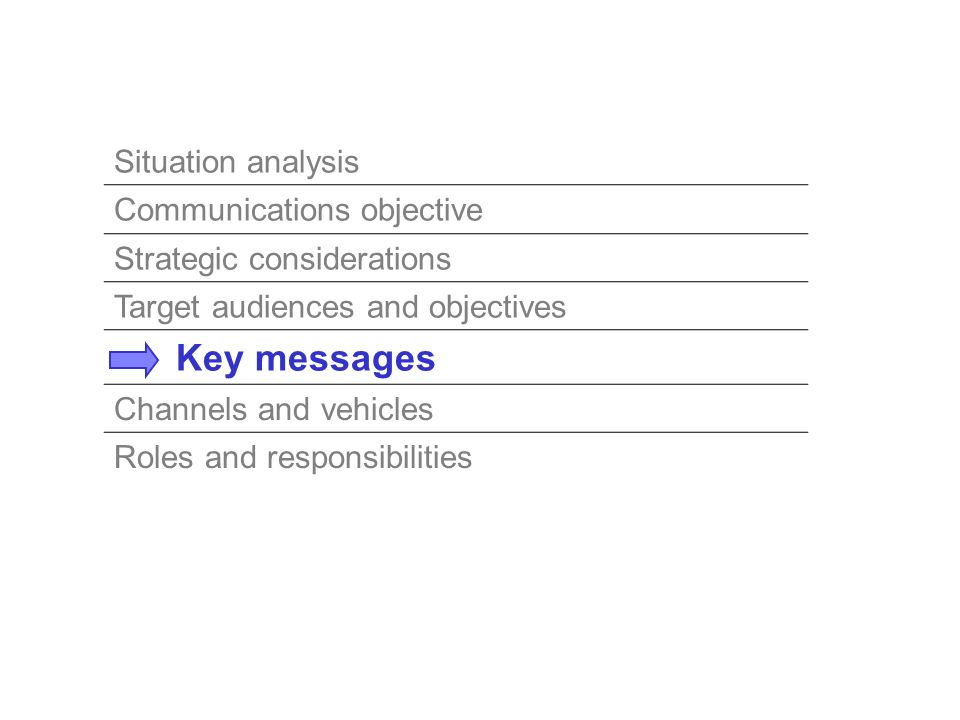 Situation analysis Communications objective Strategic considerations Target audiences and objectives Key messages Channels and vehicles Roles and resp