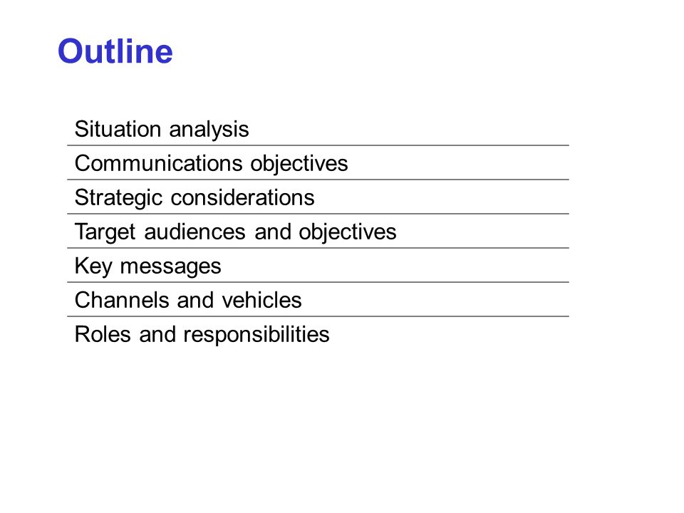 Situation analysis Communications objectives Strategic considerations Target audiences and objectives Key messages Channels and vehicles Roles and responsibilities Outline