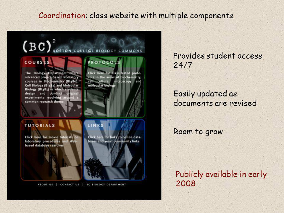 Coordination: class website with multiple components Publicly available in early 2008 Provides student access 24/7 Easily updated as documents are revised Room to grow