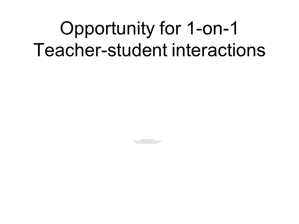 Opportunity for 1-on-1 Teacher-student interactions