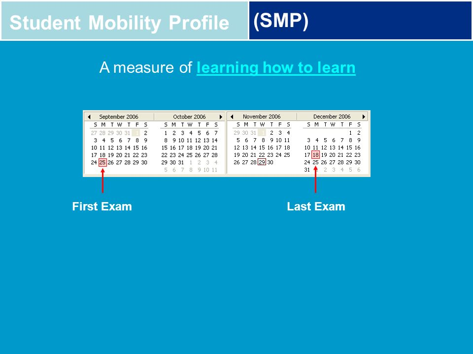 Student Mobility Profile (SMP) A measure of learning how to learn First ExamLast Exam