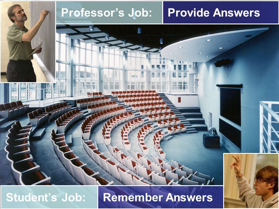 Professors Job: Provide AnswersStudents Job: Remember Answers