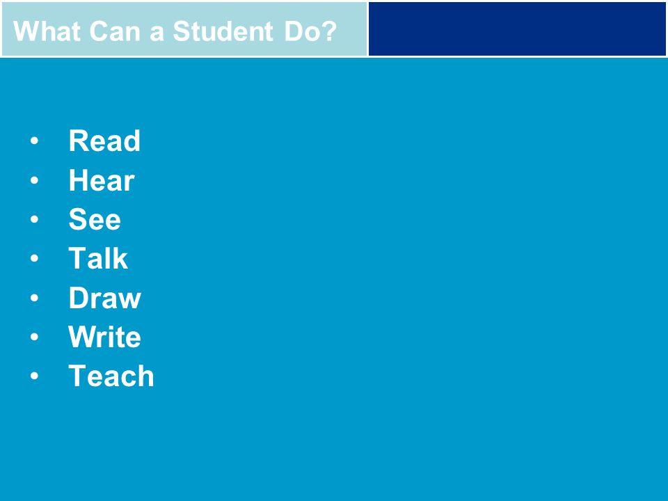 Read Hear See Talk Draw Write Teach What Can a Student Do?