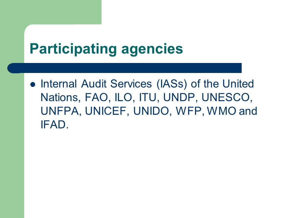 Participating agencies Internal Audit Services (IASs) of the United Nations, FAO, ILO, ITU, UNDP, UNESCO, UNFPA, UNICEF, UNIDO, WFP, WMO and IFAD.