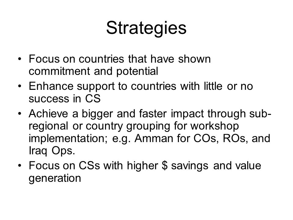Action Plan – MENA Region (1 October 2004 – 31 December 2005) ActivityResponsible CSETimelineResourcesIndicators of Success Inform FOs of CSE and TORAZ2 Oct.Letter/e-mail sent to all RCs and agency heads Develop and distribute questionnaire to update info in country profiles AZ, DK, CPNov.% response to questionnaire Update country profile in locker room AZNov/DecWGUpdated profiles Determine priority countries to be assessed; develop mission plans (TORs), scheduling & assigning team members for country visits AZ, DK, CPDecRC/OMTMission plan TOR List of priority countries established and shared with WG Undertake assessment missions to meet and discuss CS with UNCT/OMT AZ, DK, CPJan./Feb.WG and RC/OMT ($)Mission report(s) Analysis of mission results and developing priorities for implementation of CS AZJan./Feb.Input from DK and CPSummary of findings and recommendations Development of schedule and location of workshops; i.e.