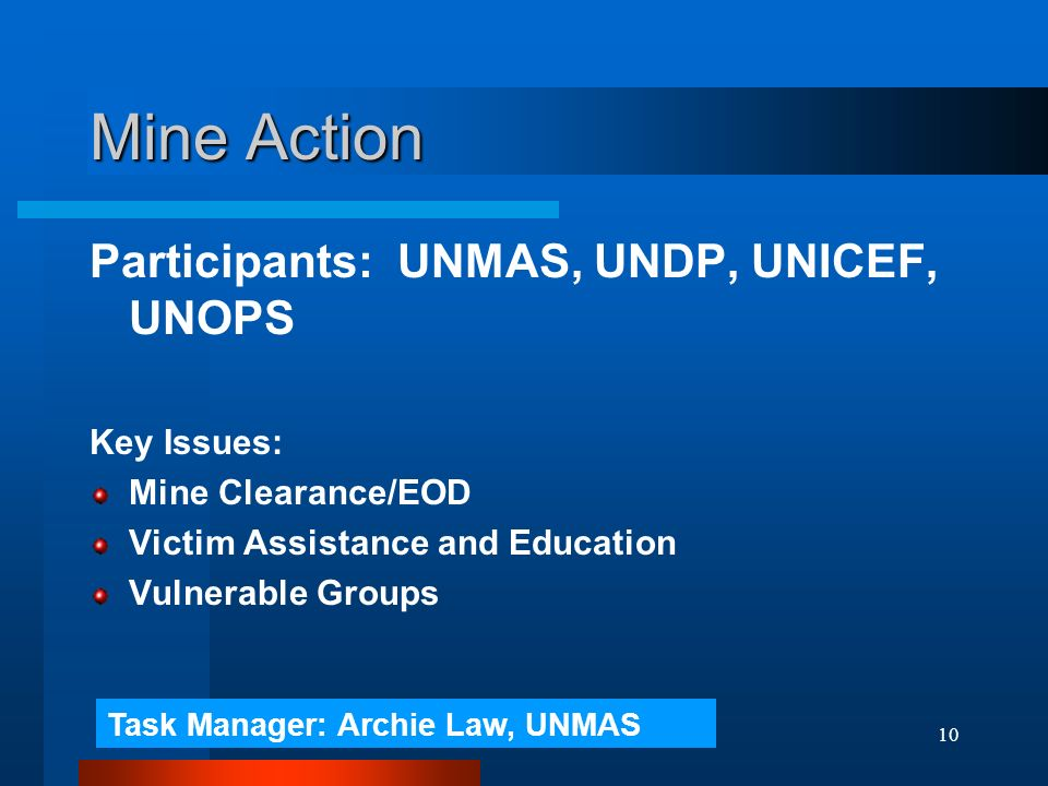 10 Mine Action Participants: UNMAS, UNDP, UNICEF, UNOPS Key Issues: Mine Clearance/EOD Victim Assistance and Education Vulnerable Groups Task Manager: Archie Law, UNMAS