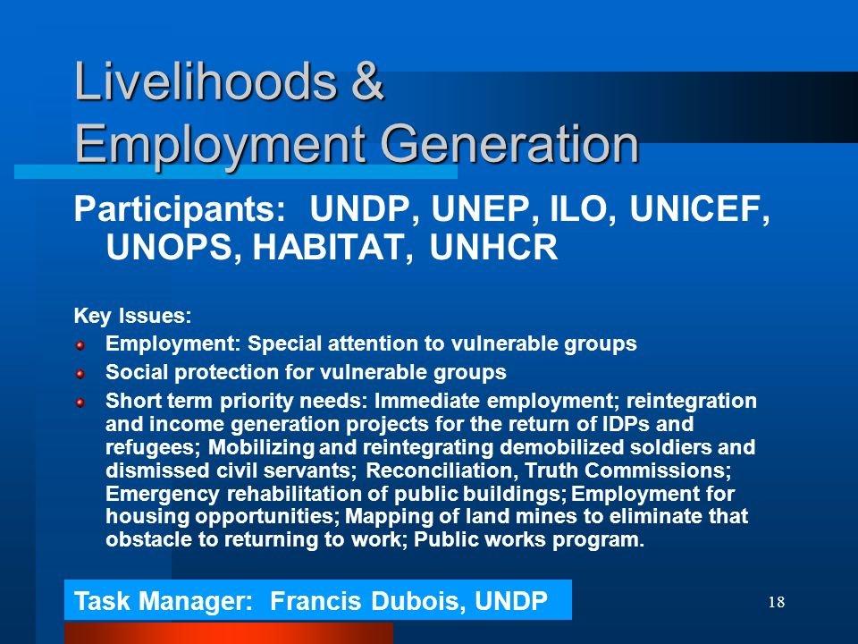 18 Livelihoods & Employment Generation Participants: UNDP, UNEP, ILO, UNICEF, UNOPS, HABITAT, UNHCR Key Issues: Employment: Special attention to vulnerable groups Social protection for vulnerable groups Short term priority needs: Immediate employment; reintegration and income generation projects for the return of IDPs and refugees; Mobilizing and reintegrating demobilized soldiers and dismissed civil servants; Reconciliation, Truth Commissions; Emergency rehabilitation of public buildings; Employment for housing opportunities; Mapping of land mines to eliminate that obstacle to returning to work; Public works program.