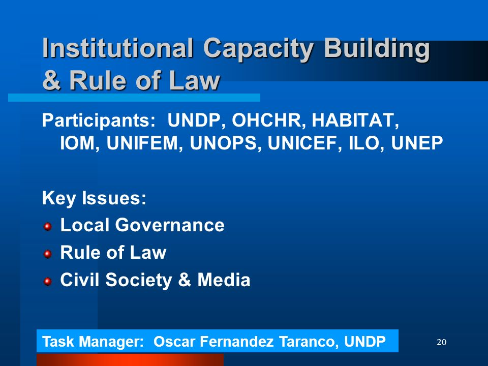 20 Institutional Capacity Building & Rule of Law Participants: UNDP, OHCHR, HABITAT, IOM, UNIFEM, UNOPS, UNICEF, ILO, UNEP Key Issues: Local Governance Rule of Law Civil Society & Media Task Manager: Oscar Fernandez Taranco, UNDP