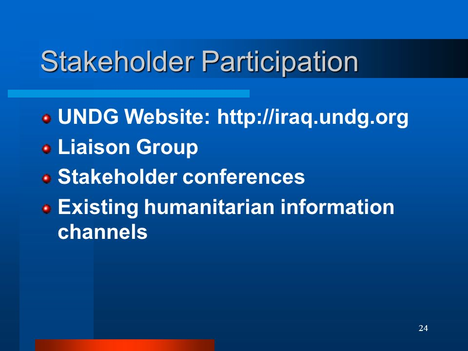 24 Stakeholder Participation UNDG Website: http://iraq.undg.org Liaison Group Stakeholder conferences Existing humanitarian information channels