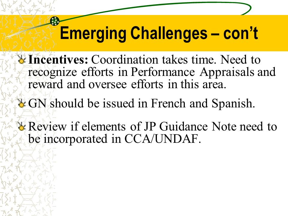 Emerging Challenges – cont Incentives: Coordination takes time. Need to recognize efforts in Performance Appraisals and reward and oversee efforts in