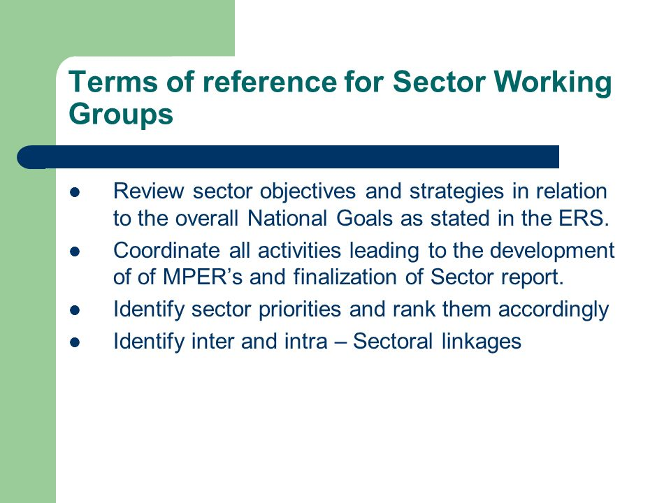 Terms of reference for Sector Working Groups Review sector objectives and strategies in relation to the overall National Goals as stated in the ERS. C
