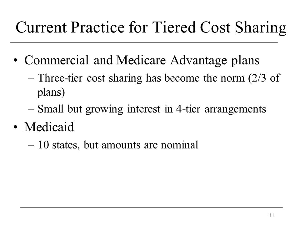 11 Current Practice for Tiered Cost Sharing Commercial and Medicare Advantage plans –Three-tier cost sharing has become the norm (2/3 of plans) –Small but growing interest in 4-tier arrangements Medicaid –10 states, but amounts are nominal