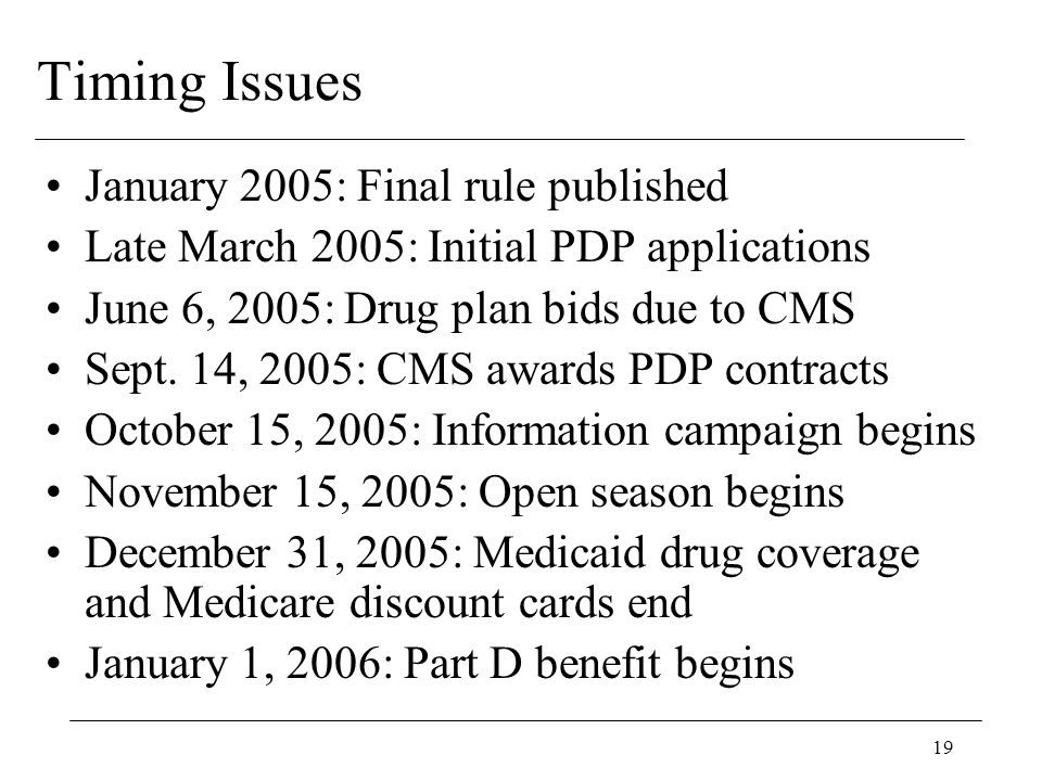 19 Timing Issues January 2005: Final rule published Late March 2005: Initial PDP applications June 6, 2005: Drug plan bids due to CMS Sept.