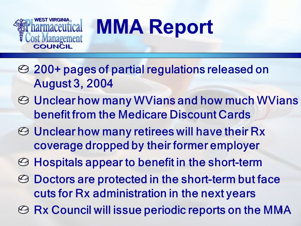 8 200+ pages of partial regulations released on August 3, 2004 Unclear how many WVians and how much WVians benefit from the Medicare Discount Cards Un