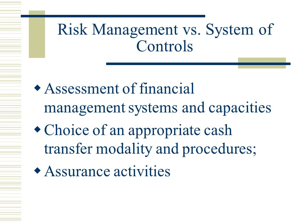 Risk Management vs.