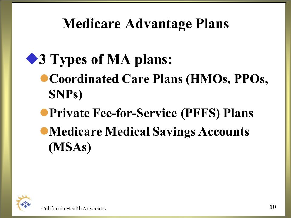 California Health Advocates 10 Medicare Advantage Plans 3 Types of MA plans: Coordinated Care Plans (HMOs, PPOs, SNPs) Private Fee-for-Service (PFFS)