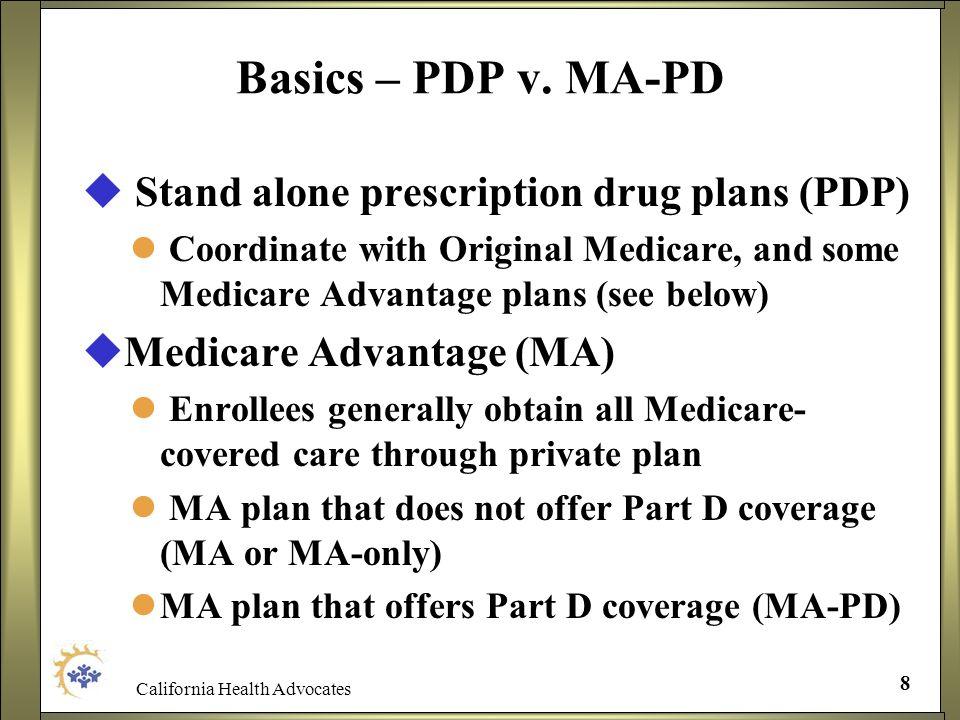 California Health Advocates 8 Basics – PDP v. MA-PD Stand alone prescription drug plans (PDP) Coordinate with Original Medicare, and some Medicare Adv