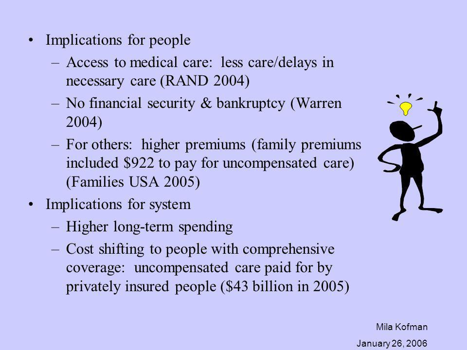 Mila Kofman January 26, 2006 Implications for people –Access to medical care: less care/delays in necessary care (RAND 2004) –No financial security &