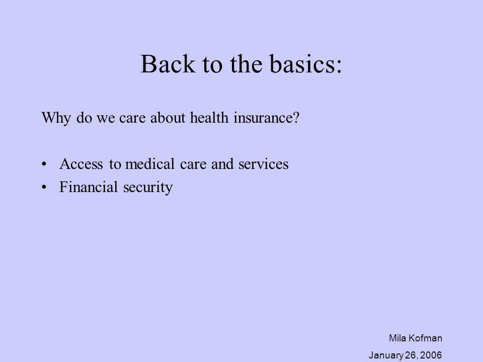 Mila Kofman January 26, 2006 Back to the basics: Why do we care about health insurance? Access to medical care and services Financial security