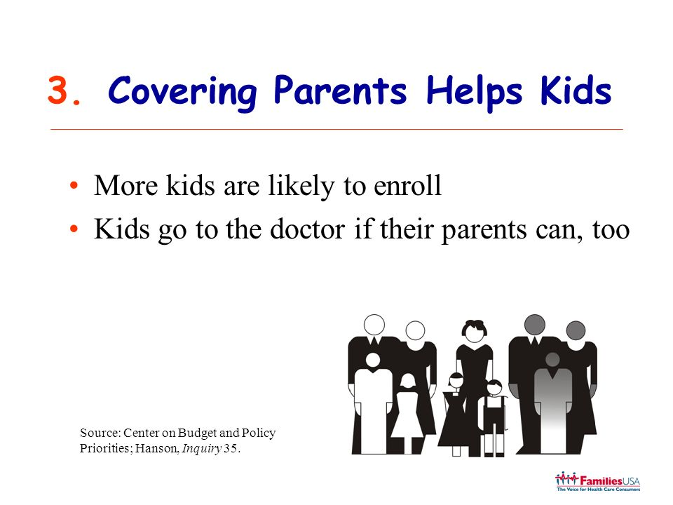 3.Covering Parents Helps Kids More kids are likely to enroll Kids go to the doctor if their parents can, too Source: Center on Budget and Policy Prior