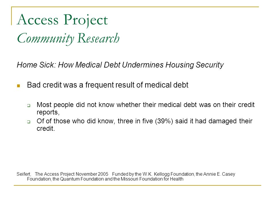 Access Project Community Research Home Sick: How Medical Debt Undermines Housing Security Bad credit was a frequent result of medical debt Most people did not know whether their medical debt was on their credit reports, Of of those who did know, three in five (39%) said it had damaged their credit.