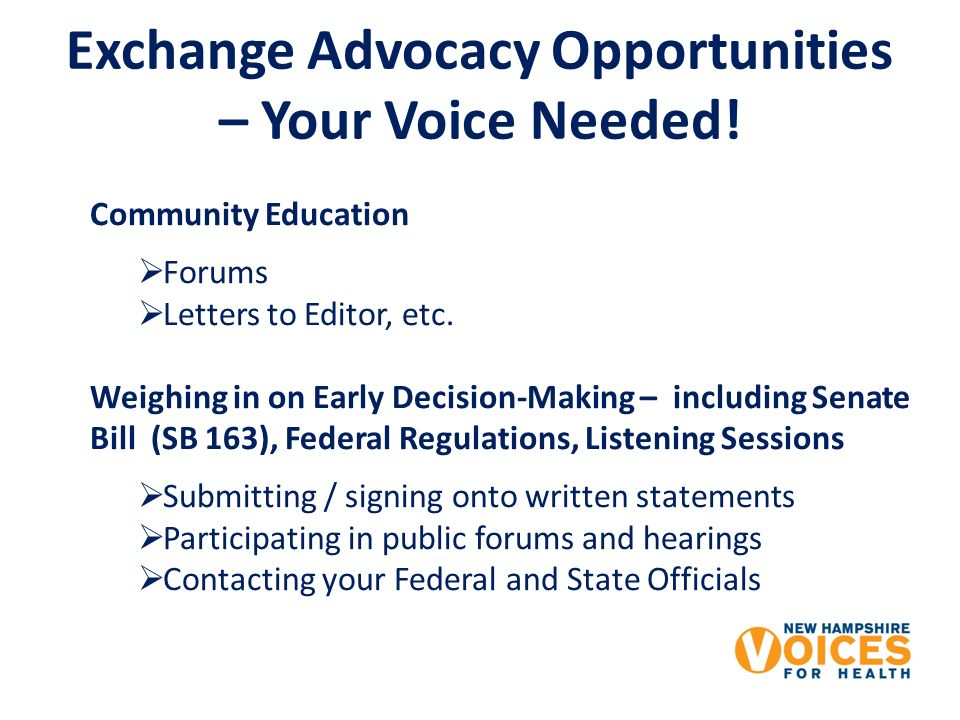 Exchange Advocacy Opportunities – Your Voice Needed.