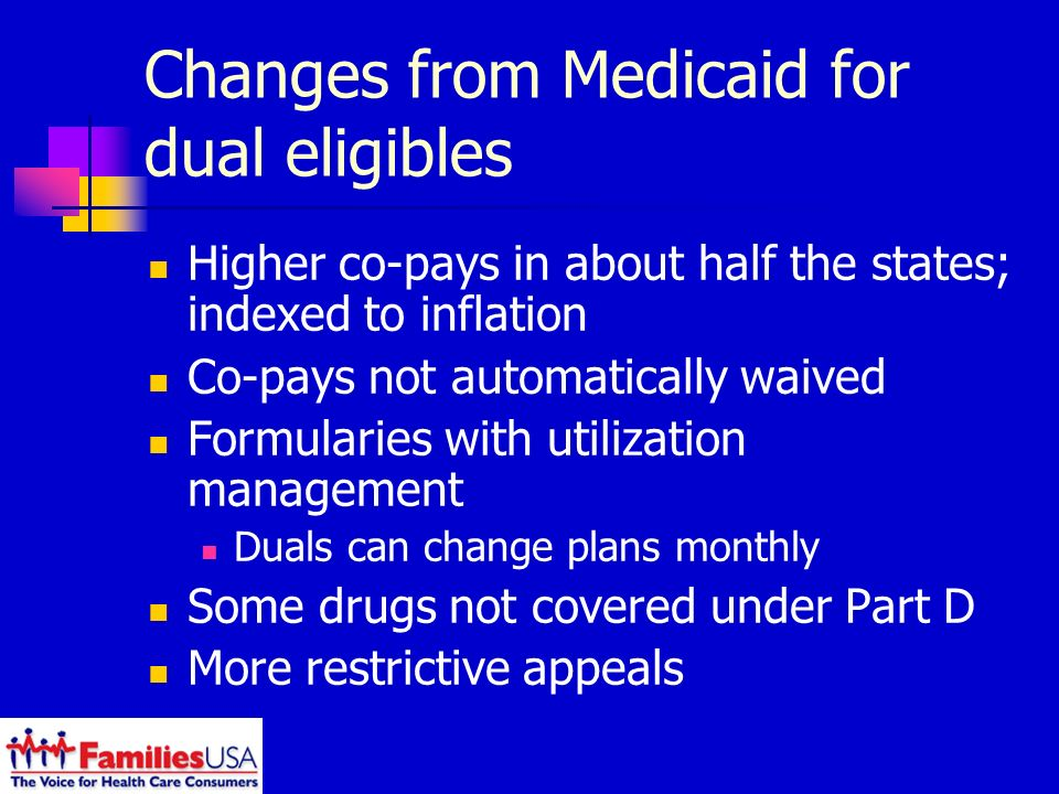 Changes from Medicaid for dual eligibles Higher co-pays in about half the states; indexed to inflation Co-pays not automatically waived Formularies with utilization management Duals can change plans monthly Some drugs not covered under Part D More restrictive appeals
