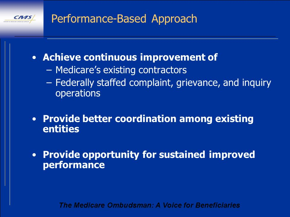 The Medicare Ombudsman: A Voice for Beneficiaries Performance-Based Approach Achieve continuous improvement of –Medicares existing contractors –Federa