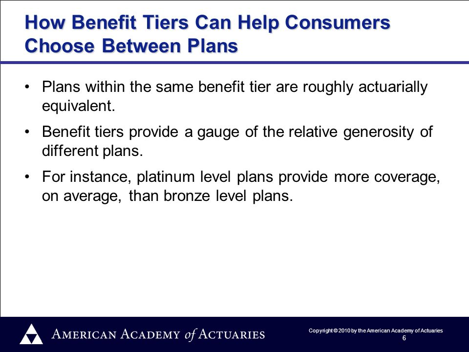 Copyright © 2010 by the American Academy of Actuaries 6 How Benefit Tiers Can Help Consumers Choose Between Plans Plans within the same benefit tier are roughly actuarially equivalent.