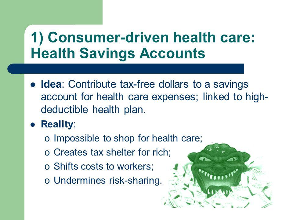 1) Consumer-driven health care: Health Savings Accounts Idea: Contribute tax-free dollars to a savings account for health care expenses; linked to high- deductible health plan.
