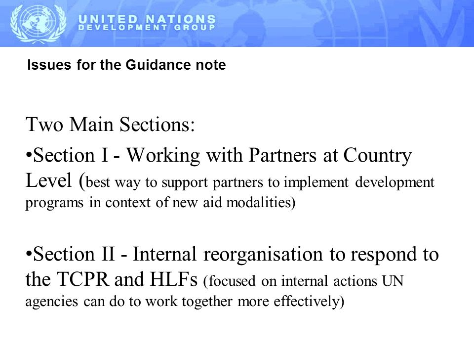 Issues for the Guidance note Two Main Sections: Section I - Working with Partners at Country Level ( best way to support partners to implement development programs in context of new aid modalities) Section II - Internal reorganisation to respond to the TCPR and HLFs (focused on internal actions UN agencies can do to work together more effectively)