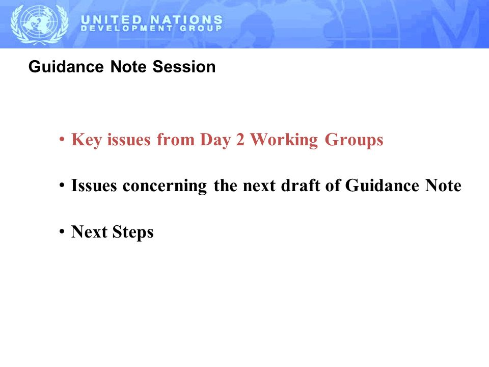 Guidance Note Session Key issues from Day 2 Working Groups Issues concerning the next draft of Guidance Note Next Steps