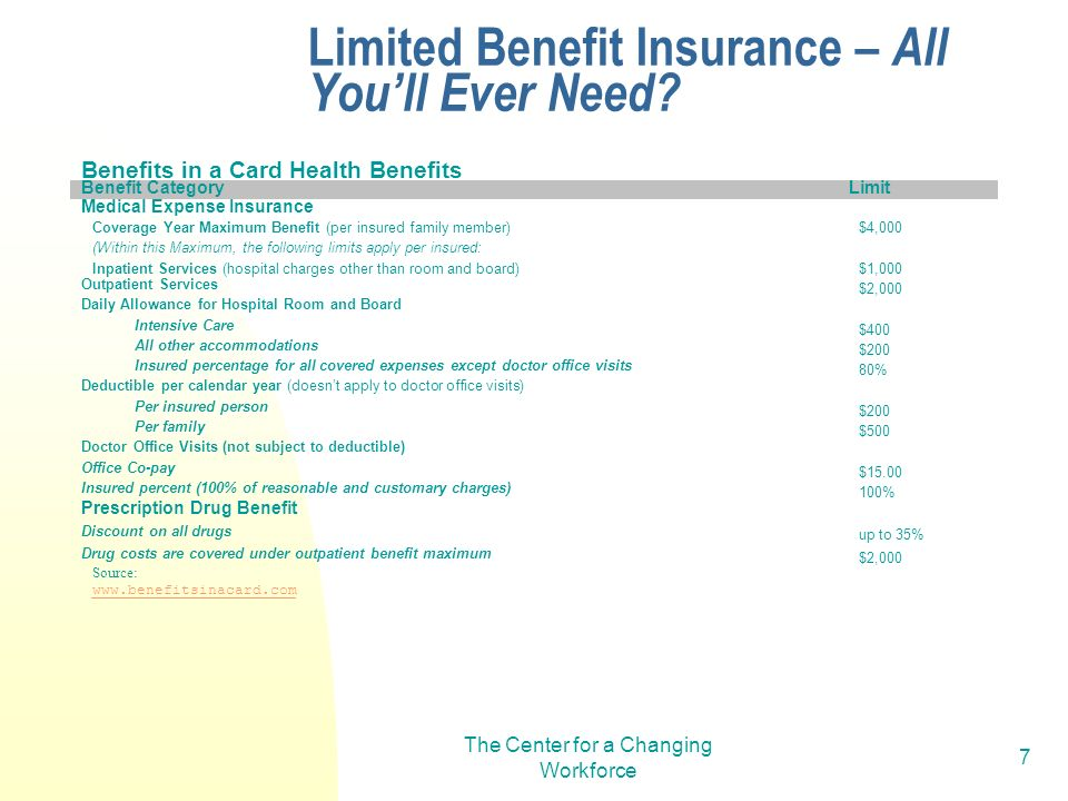 The Center for a Changing Workforce 7 Benefits in a Card Health Benefits Benefit CategoryLimit Medical Expense Insurance Coverage Year Maximum Benefit