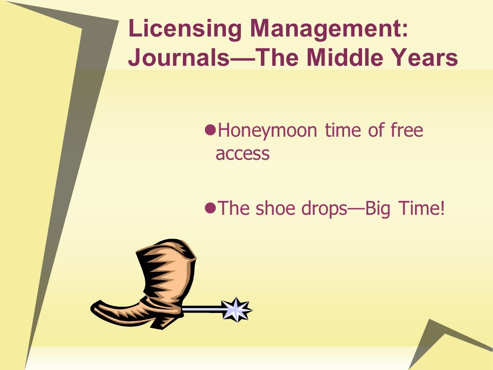 Licensing Management: JournalsThe Middle Years Honeymoon time of free access The shoe dropsBig Time!