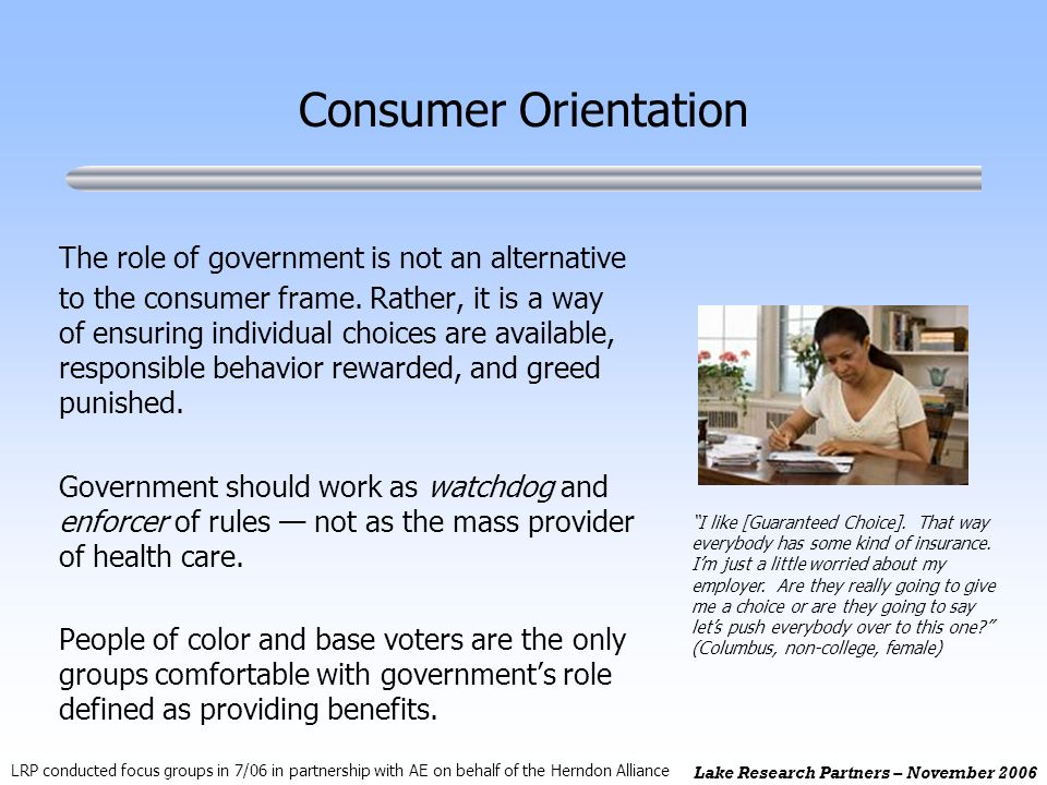 Lake Research Partners – November 2006 The role of government is not an alternative to the consumer frame.