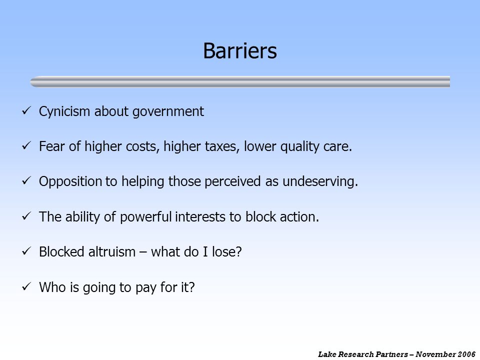 Lake Research Partners – November 2006 Barriers Cynicism about government Fear of higher costs, higher taxes, lower quality care. Opposition to helpin