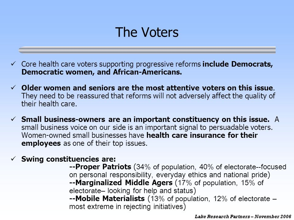 Lake Research Partners – November 2006 Core health care voters supporting progressive reforms include Democrats, Democratic women, and African-Americans.