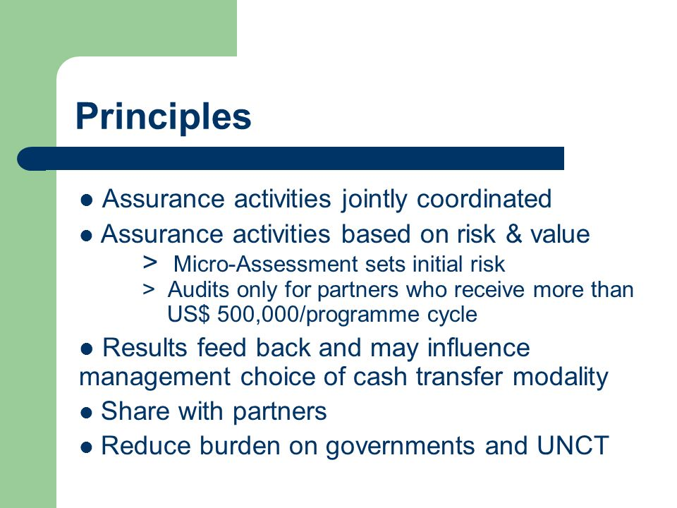 Principles Assurance activities jointly coordinated Assurance activities based on risk & value > Micro-Assessment sets initial risk > Audits only for