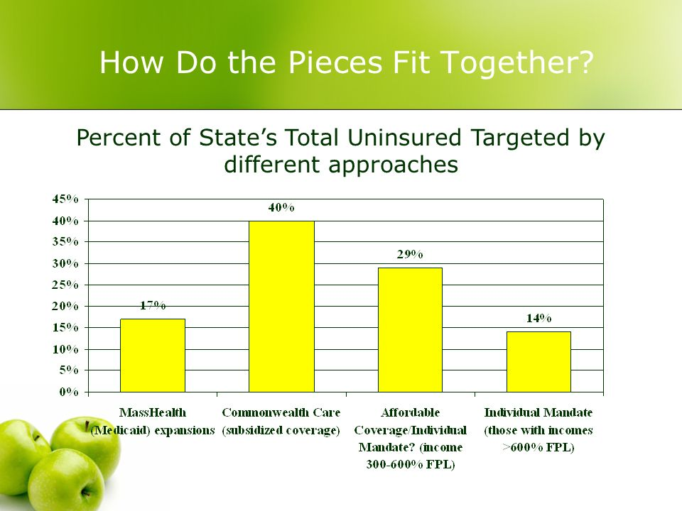 How Do the Pieces Fit Together? Percent of States Total Uninsured Targeted by different approaches