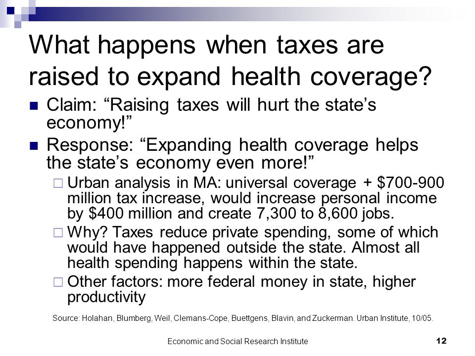Economic and Social Research Institute12 What happens when taxes are raised to expand health coverage? Claim: Raising taxes will hurt the states econo