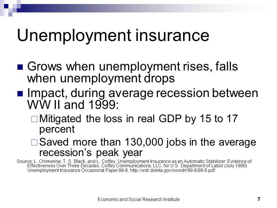 Economic and Social Research Institute7 Unemployment insurance Grows when unemployment rises, falls when unemployment drops Impact, during average rec