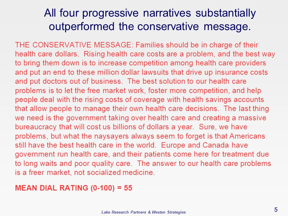 Lake Research Partners & Westen Strategies 5 All four progressive narratives substantially outperformed the conservative message. THE CONSERVATIVE MES