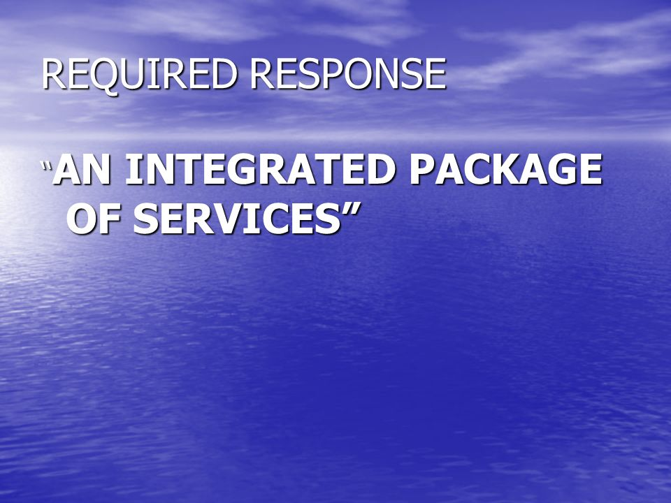 REQUIRED RESPONSE AN INTEGRATED PACKAGE OF SERVICES AN INTEGRATED PACKAGE OF SERVICES